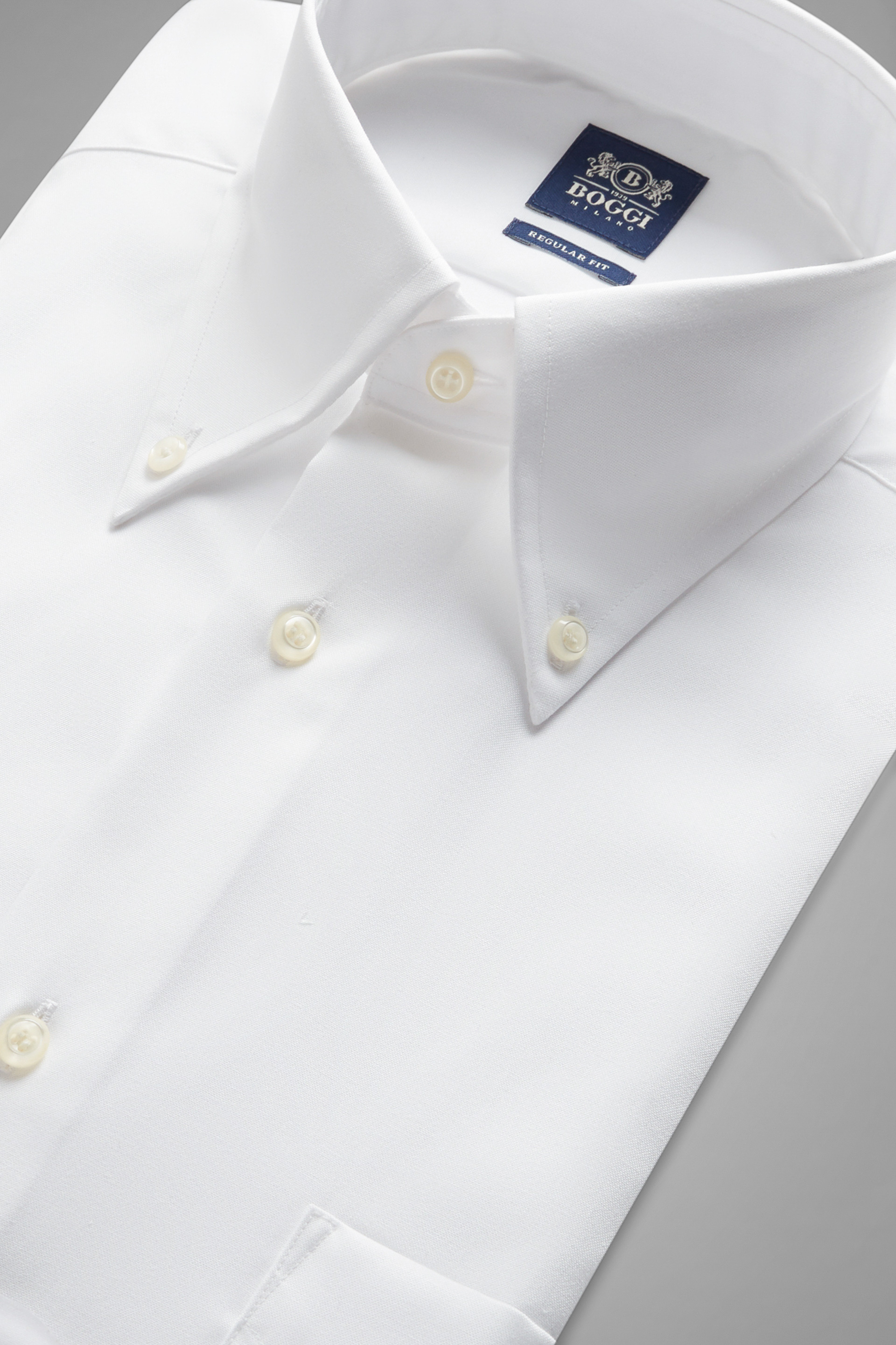 Regular Fit White Shirt With Boston Collar | Boggi inside Cuffs And Collars Boston
