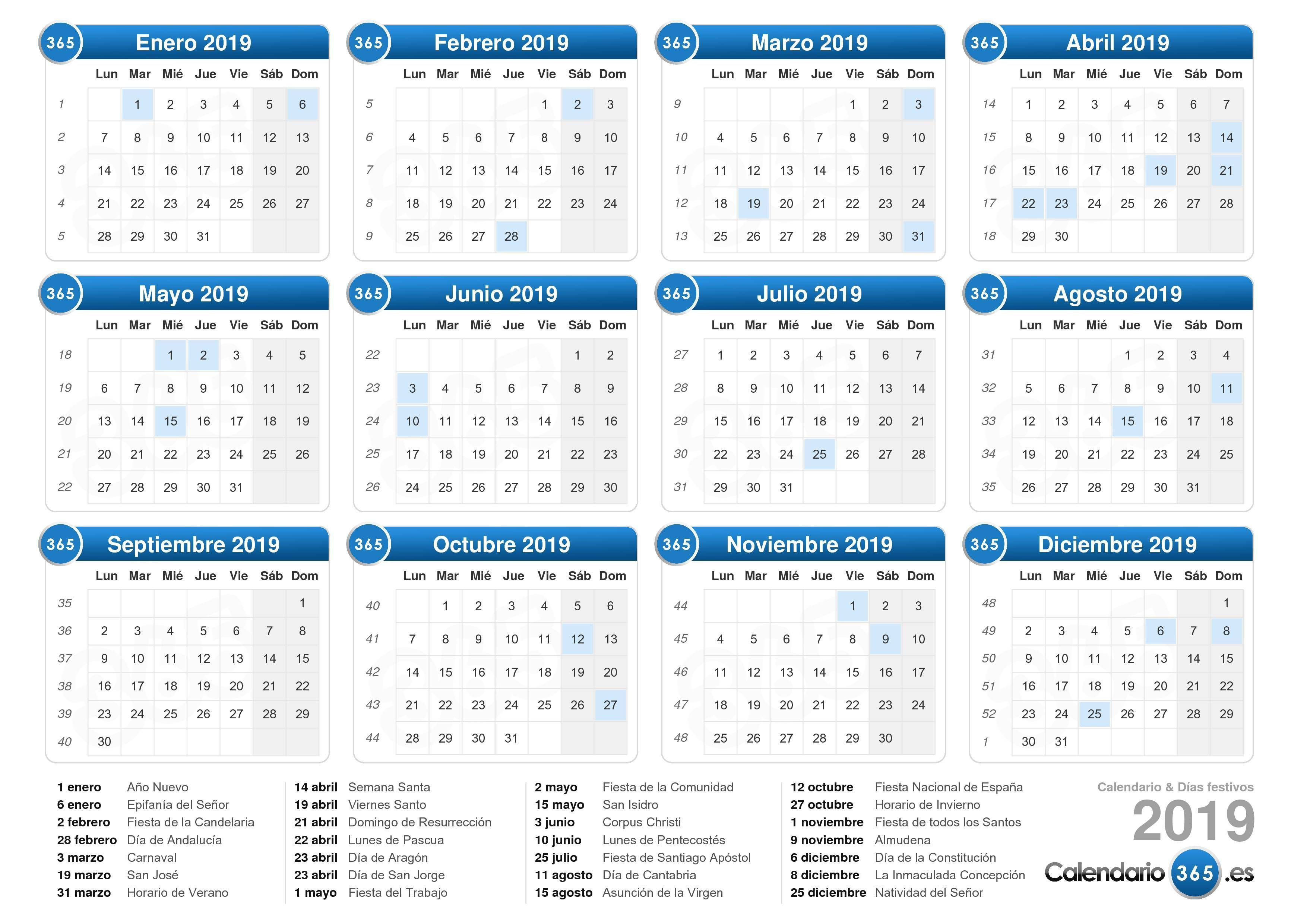 Resultado De Imagen Para Calendario 2019 | Calendario Por with Calendario 2015 Para Imprimir