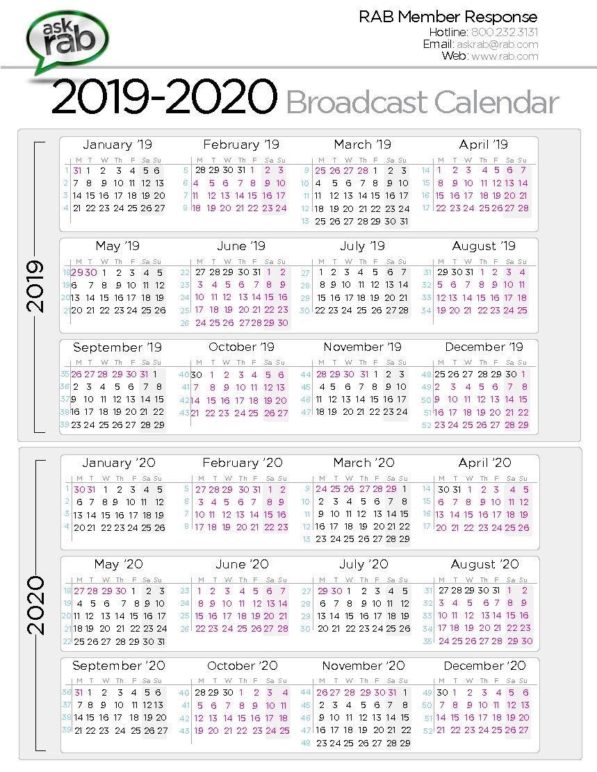 Retail Calander 2020  Calendar Inspiration Design with Rab Broadcast Calendar