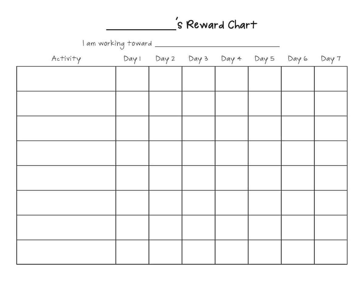 Reward Chart Templates  Word Excel Fomats throughout Monthly Behavior Charts