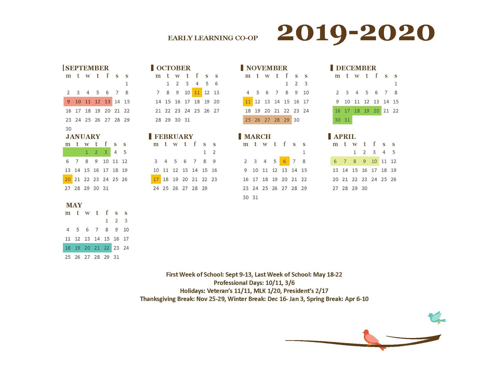 Richland Early Learning Coop: Calendars in Richland 1 Calendar