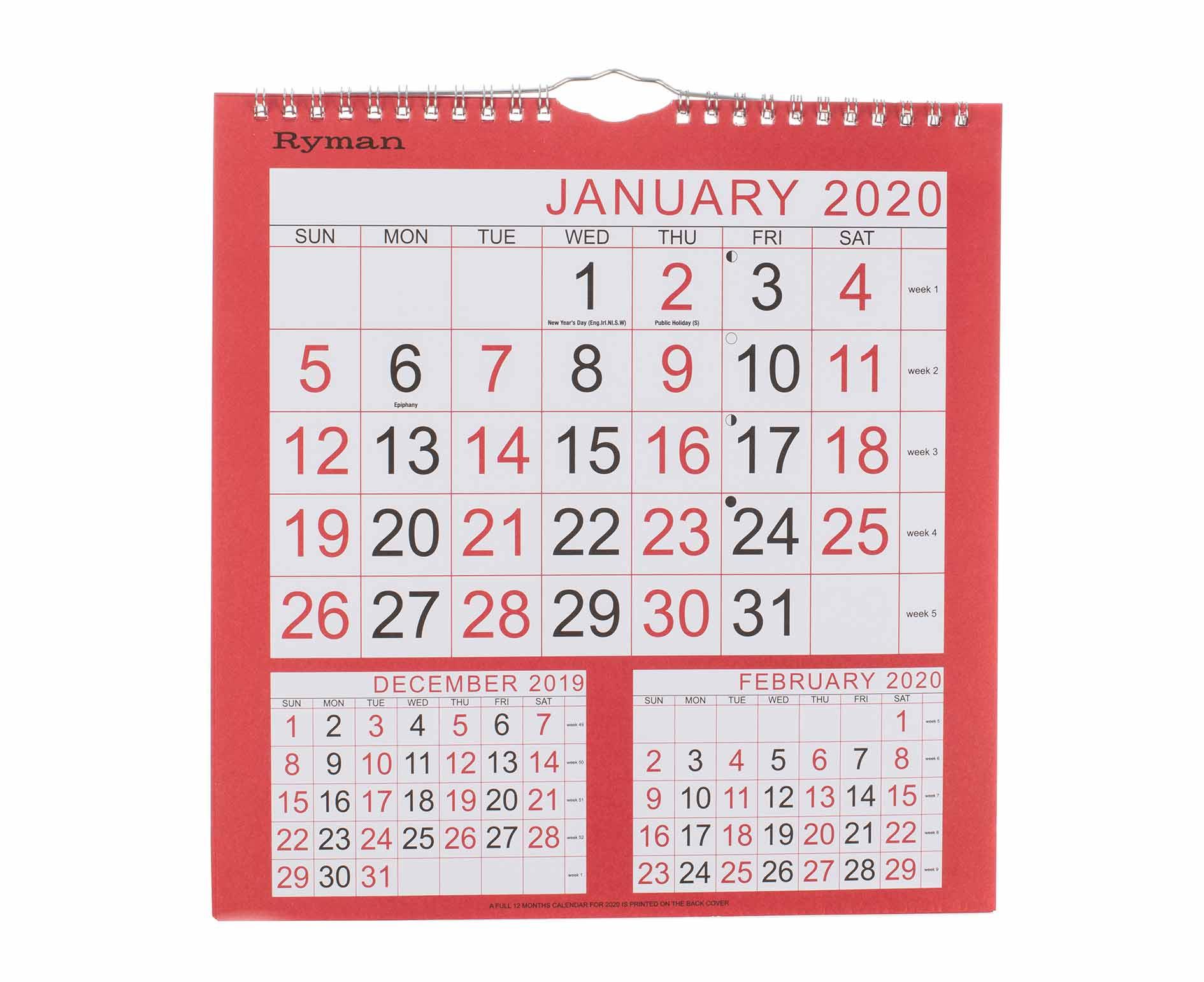 Ryman Calendar 3 Month To View Medium 2020 throughout Kodak Calendar Maker