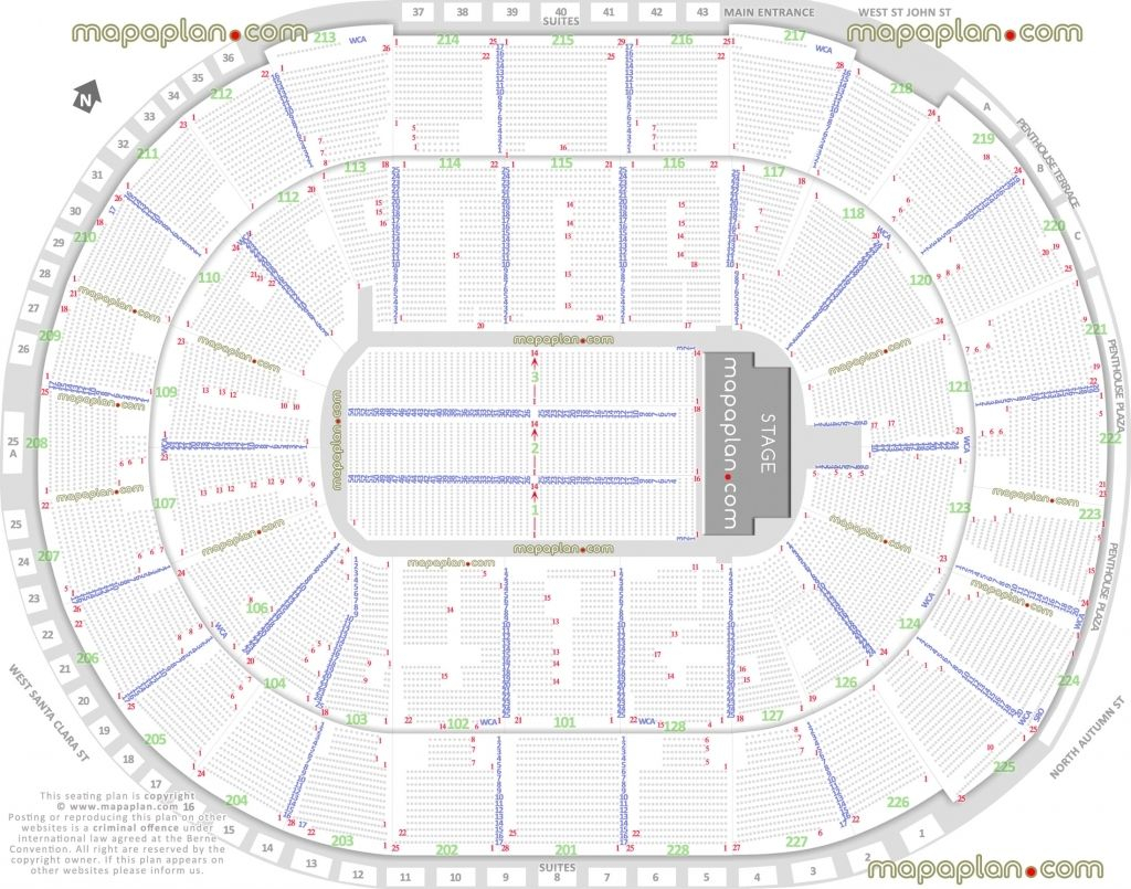 Sap Center Seat Row Numbers Detailed Seating Chart San Jose for Bok Center Seating Chart