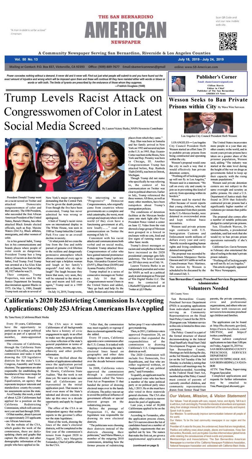 Sb American Week Ending 724 By San Bernardino American News throughout Reese A Calendar Year Taxpayer