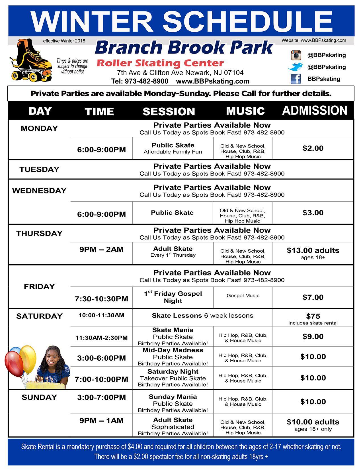 Schedule | Branch Brook Park Roller Skating Center Of Newark with regard to Branch Brook Park Roller Skating Center