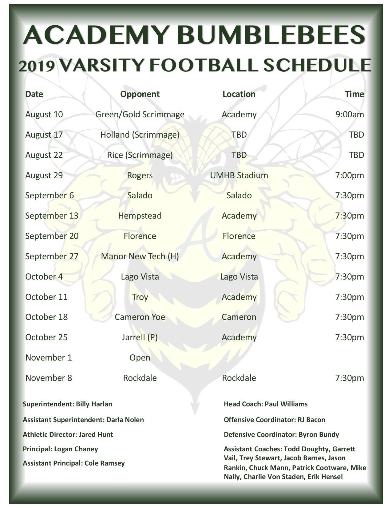 Schedule – Football – Academy High School in Vail Academy And High School Calendar