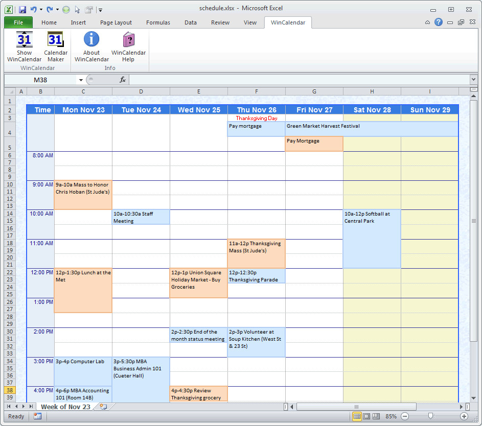Schedule Maker Excel Template Awesome Sample Class Schedule in Word Calendar Creator