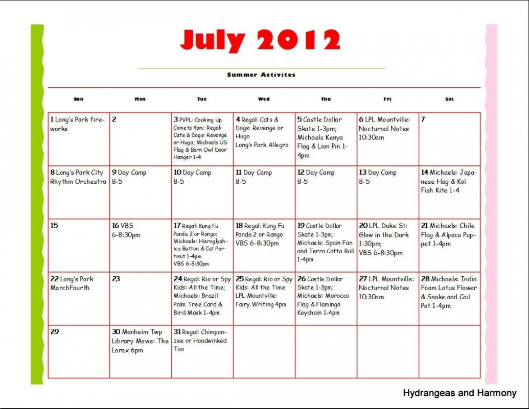 Schedule Template Summer Camp Daily Calendar Smorad Summer pertaining to Camp Schedule Template