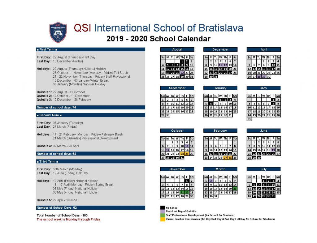 School Calendar 20192020 | Qsi International School Of with regard to Third Term School Calendar