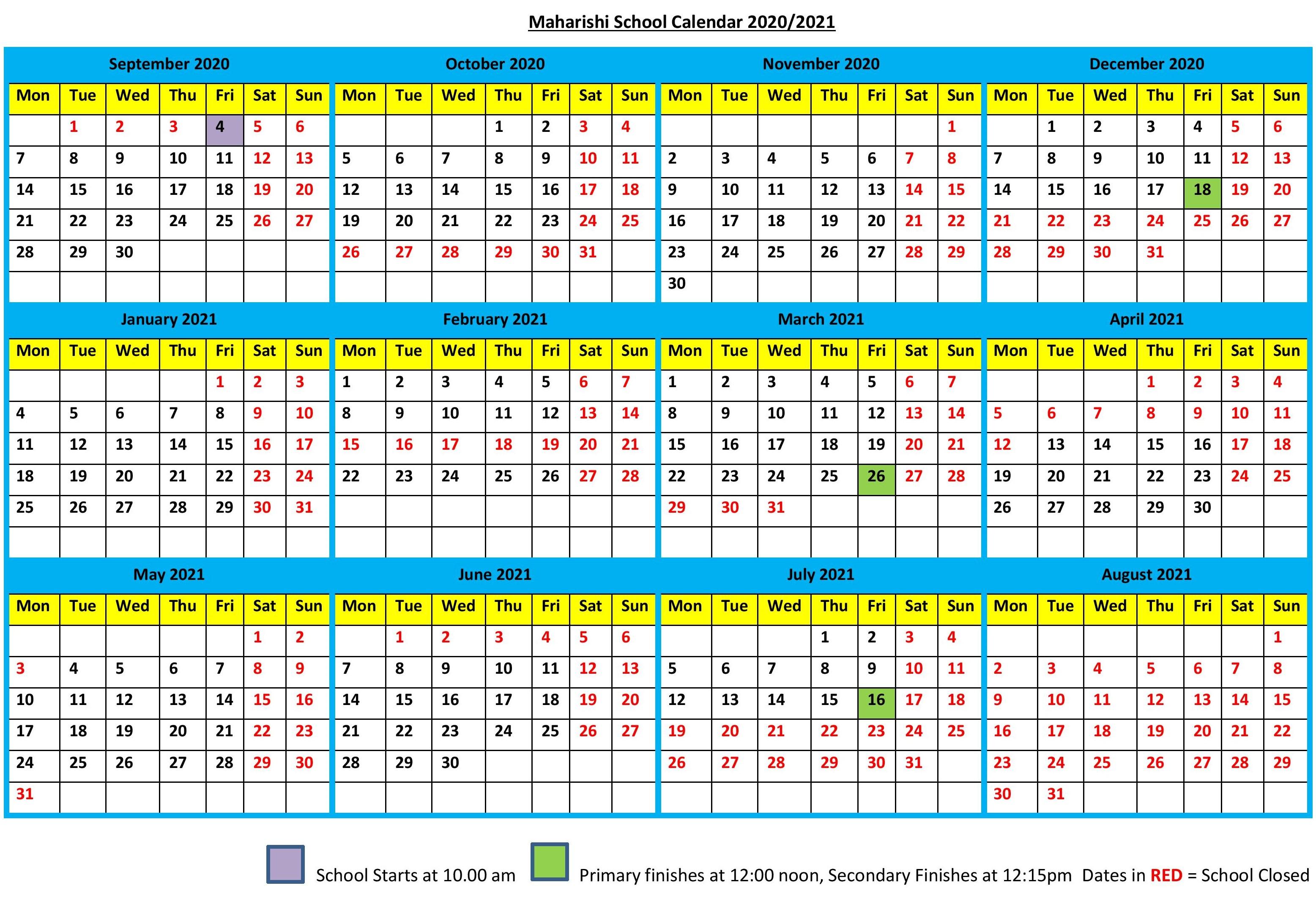 School Calendar 20202021  Maharishi School inside Maharishi School Calendar