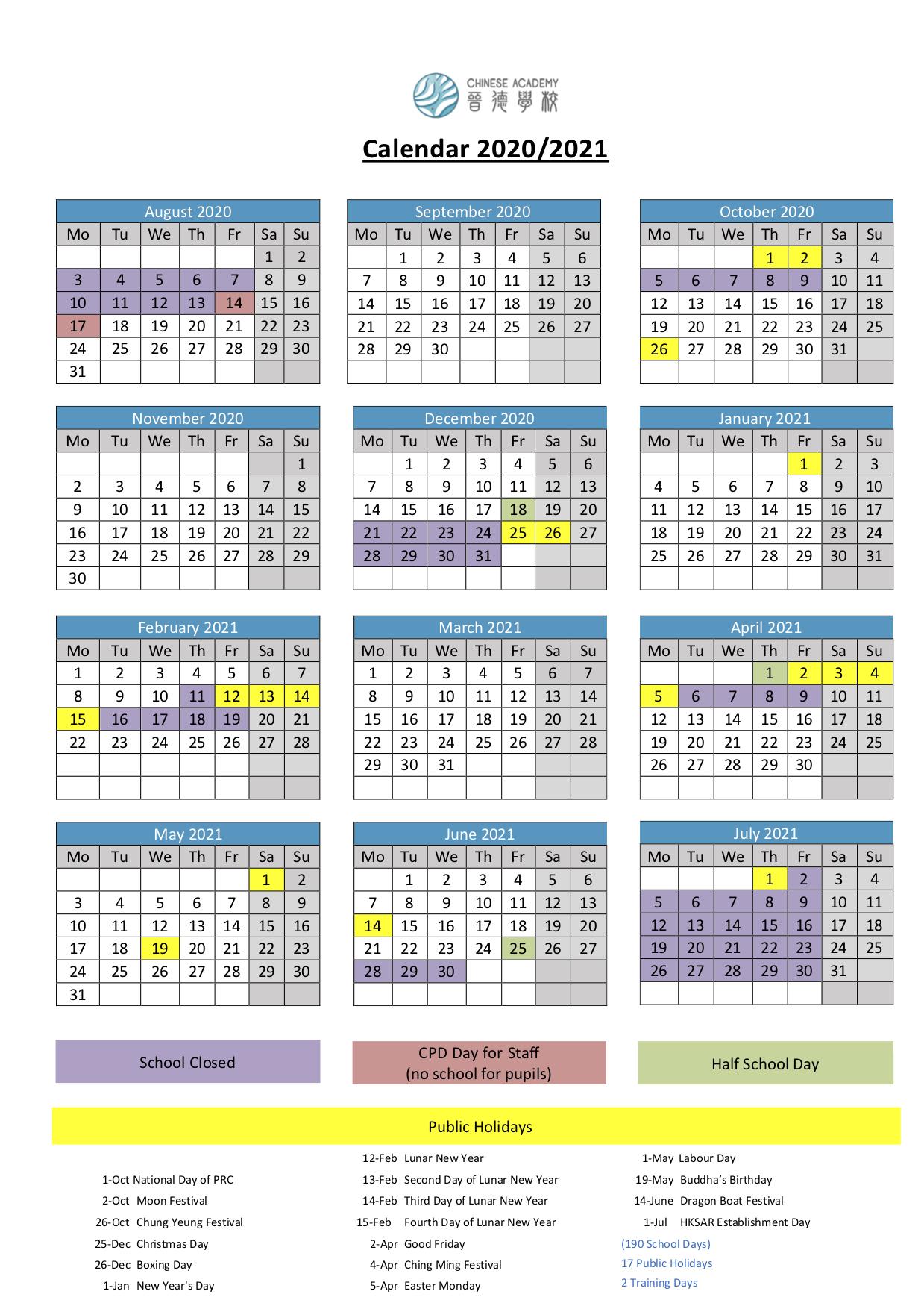 School Calendar 20202021 (Provisional)  International regarding Third Term School Calendar