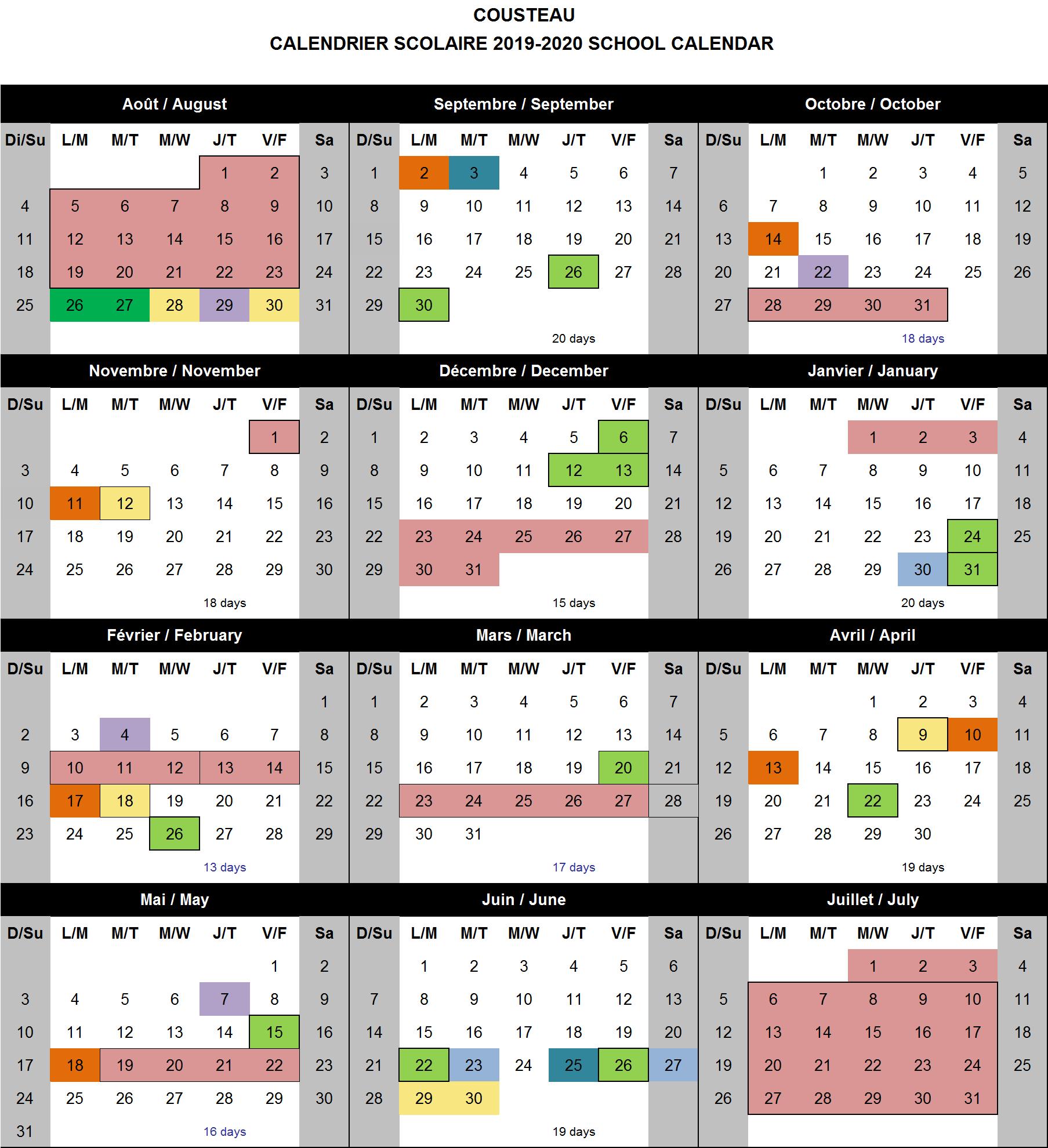 School Calendar  Cousteau School for Mulgrave School Calendar