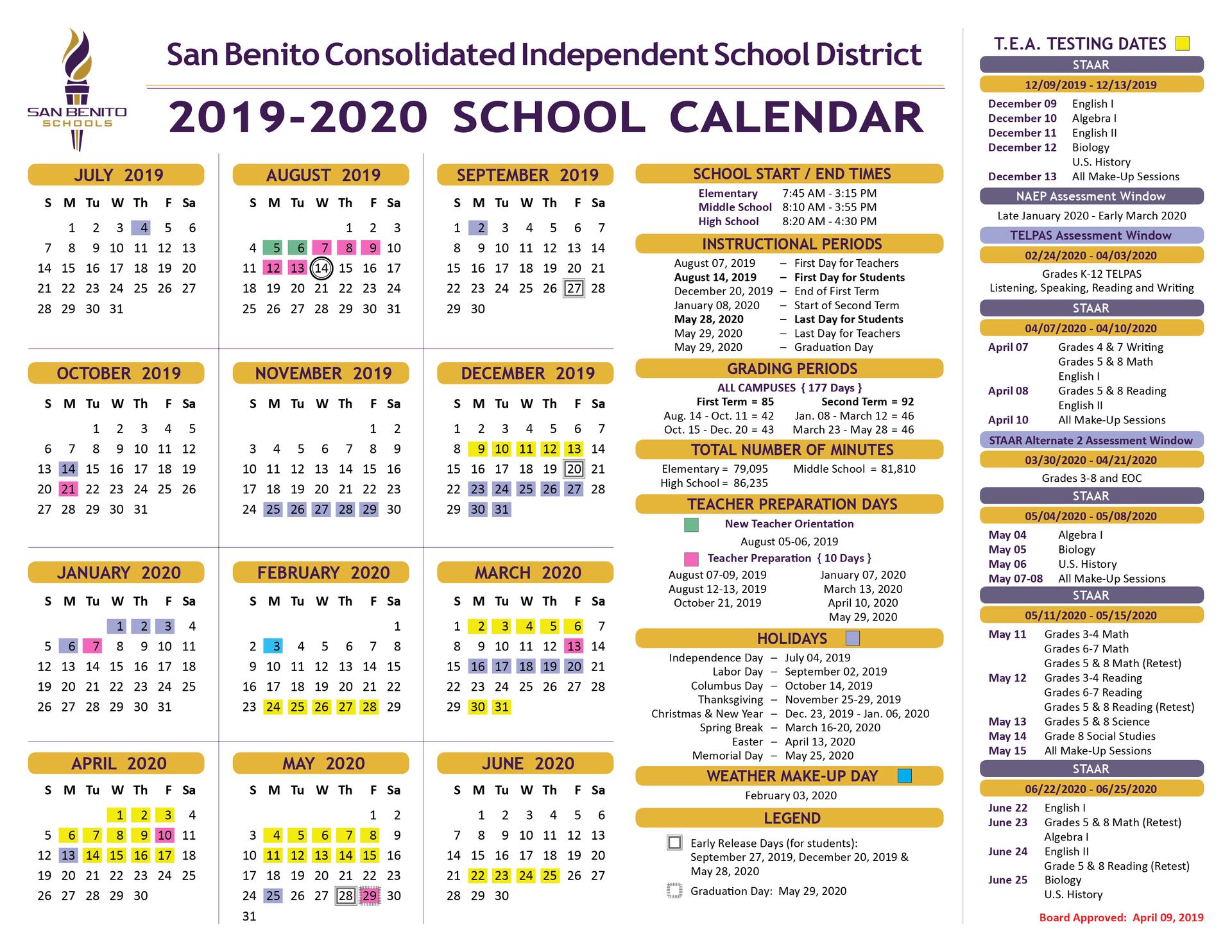 School Calendar – District – San Benito Consolidated with regard to Hisd Calendar 2018-19