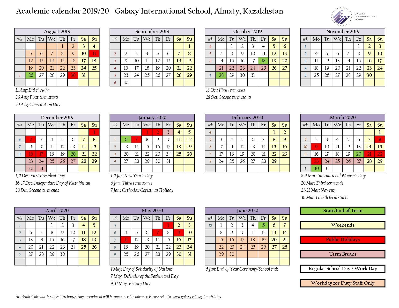 School Calendar  Galaxy International School Almaty within Third Term School Calendar