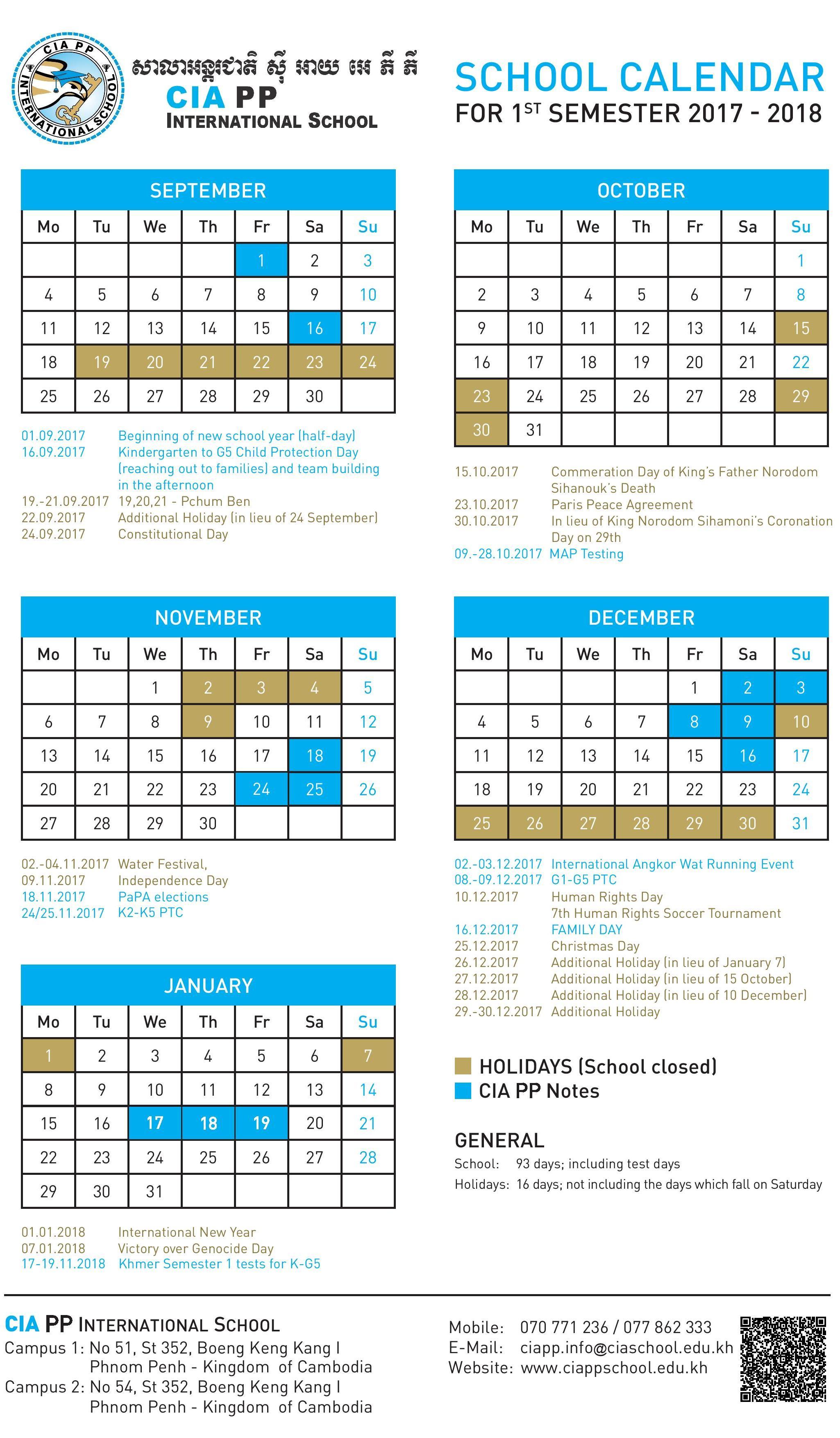 School Calendar in Khmer Calendar 2020 October