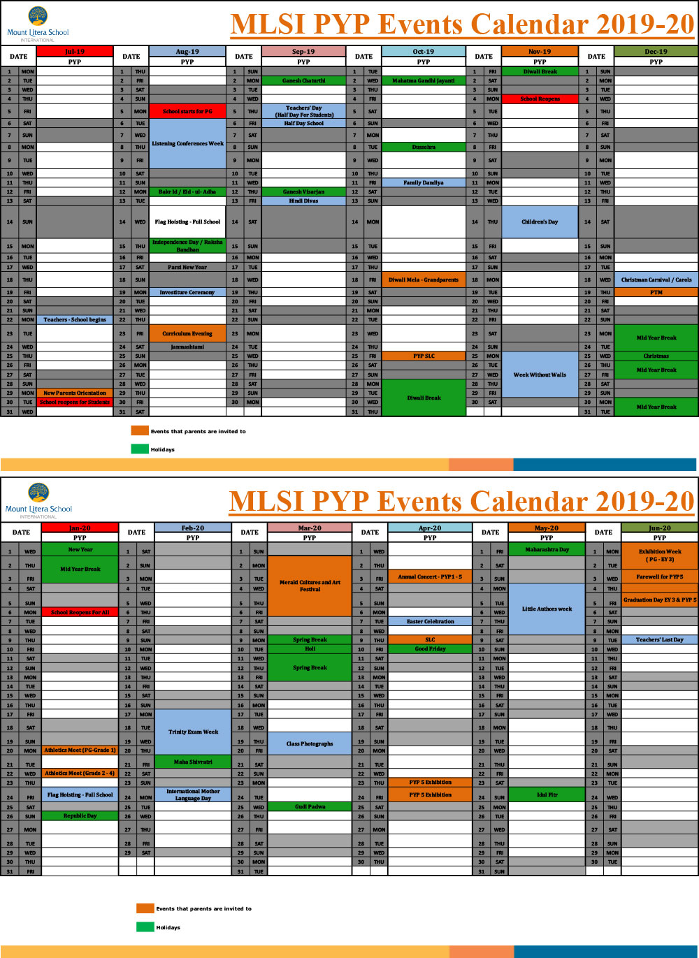 School Calendar – Mount Litera School International regarding Uti School Calendar