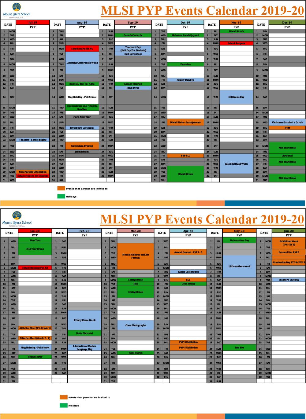 School Calendar – Mount Litera School International regarding Uti School Calendar