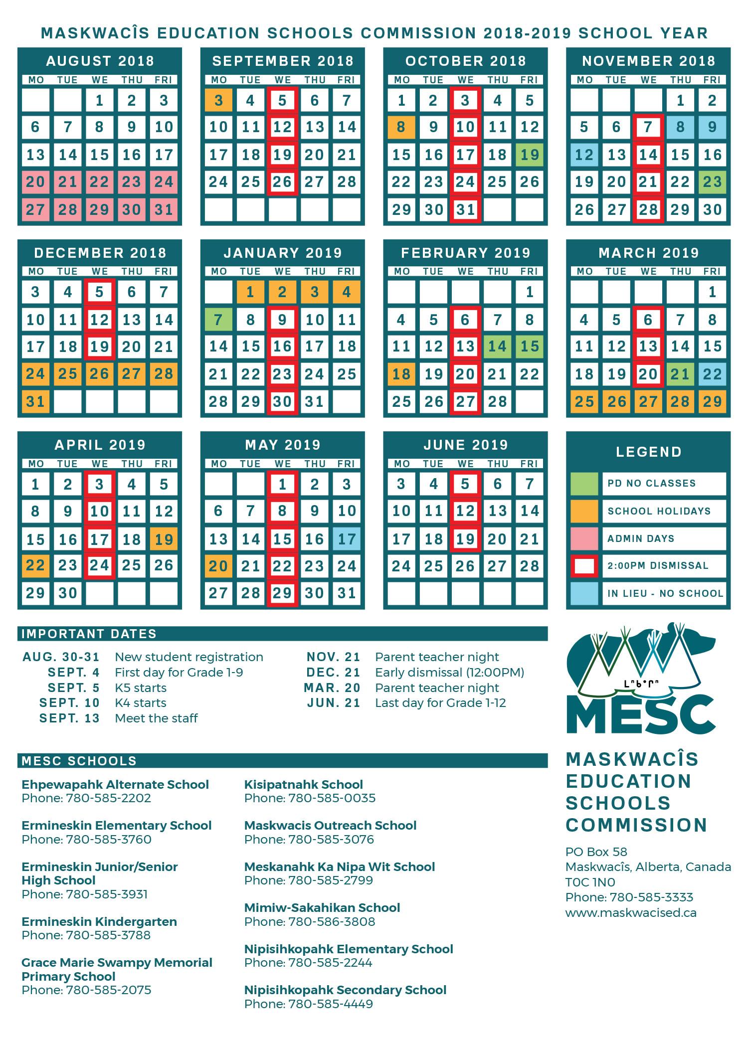 School Calendar  Nes inside Dawe School Calendar