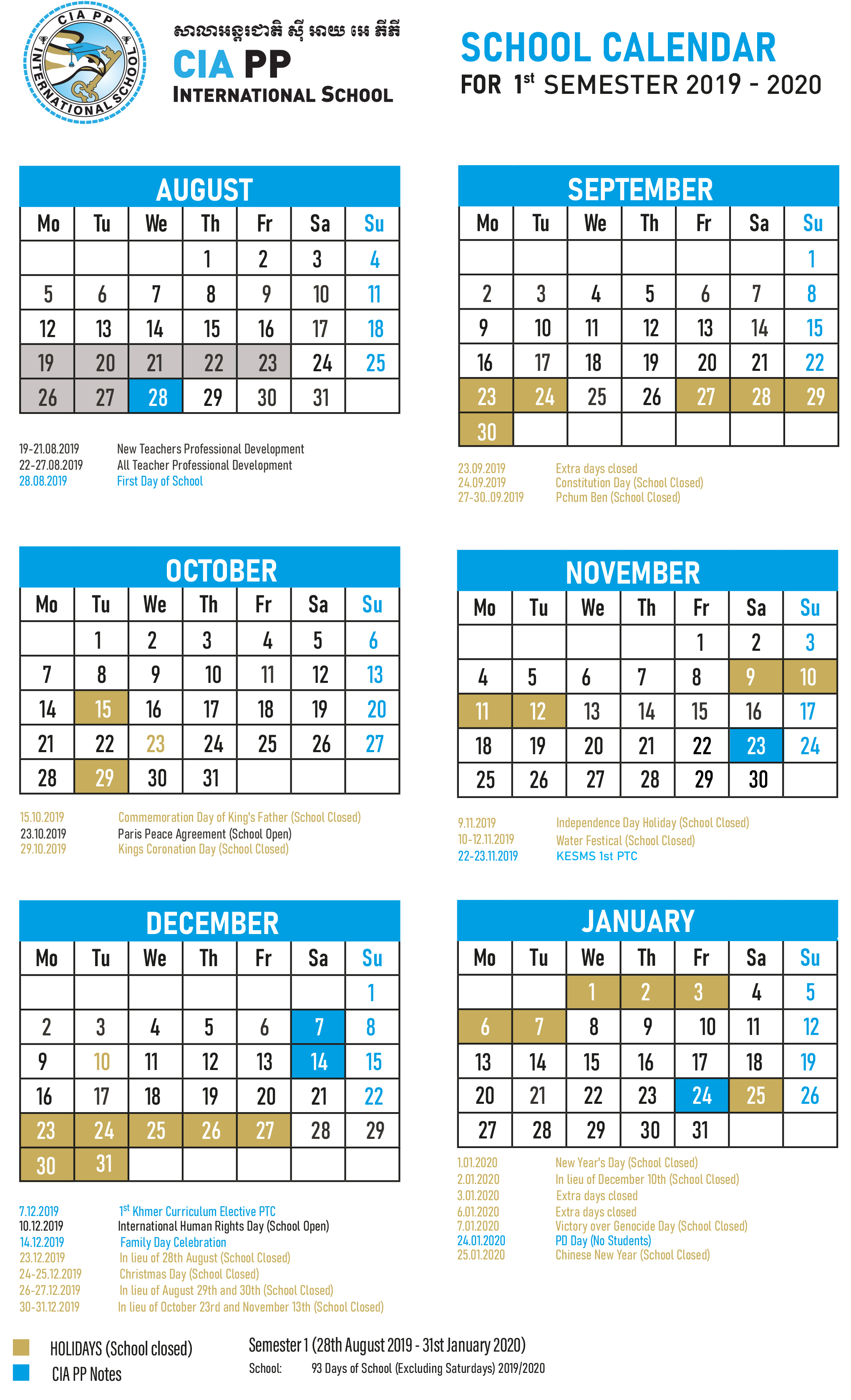 School Calendar throughout Khmer Calendar November 2020