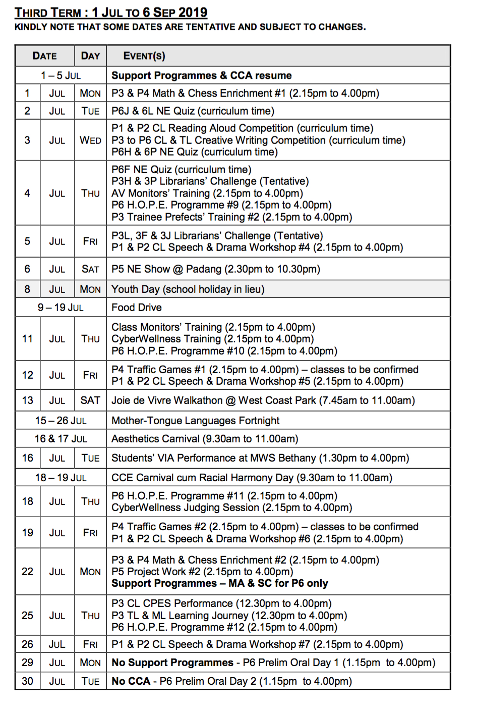 School Calendar with Third Term School Calendar