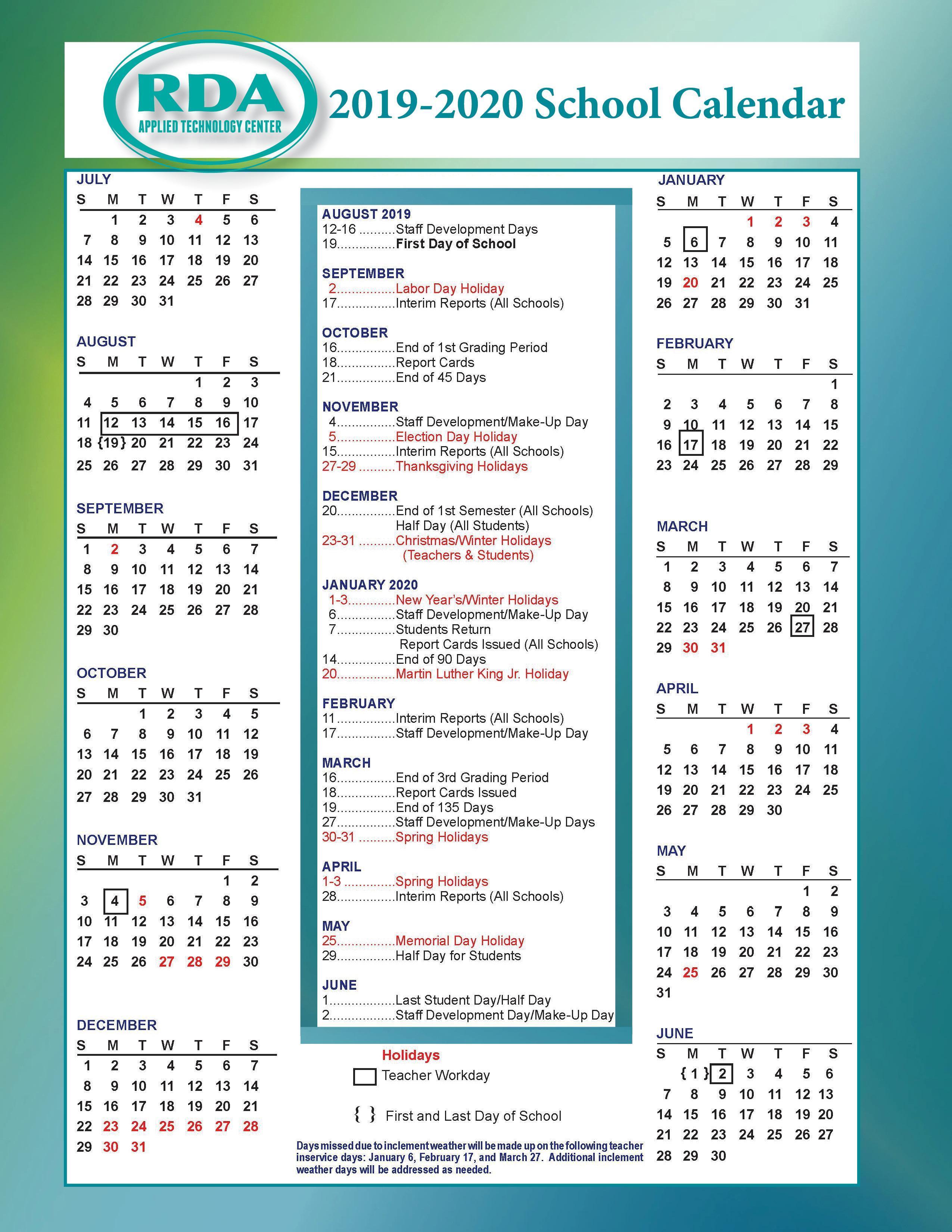 School Calendars – Parentstudent Resources – Rd Anderson Atc intended for Tl Hanna School Calendar