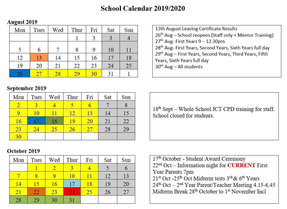 School Term Timetable throughout Third Term School Calendar