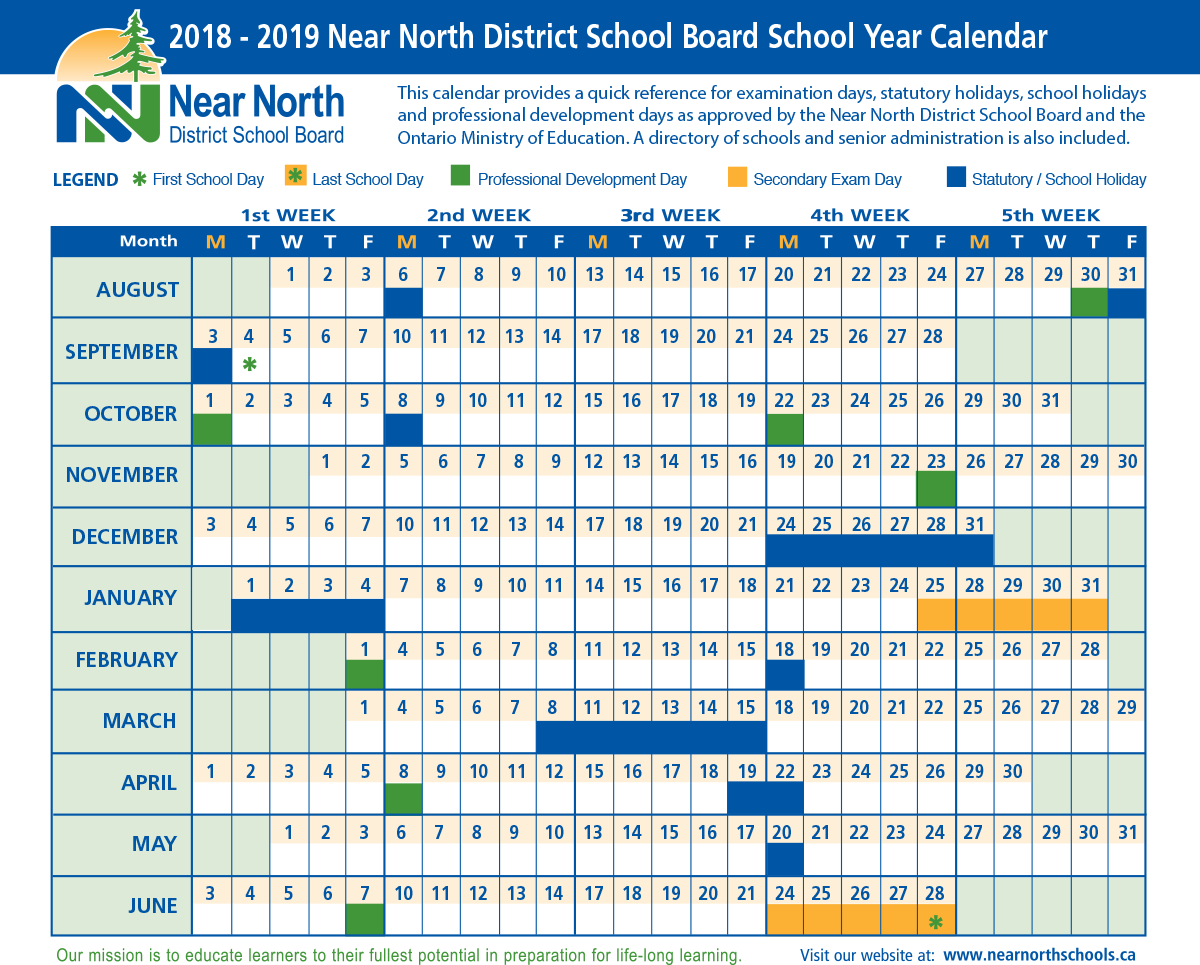School Year Calendar 20182019 – Near North District School for Near North District School Board Calendar
