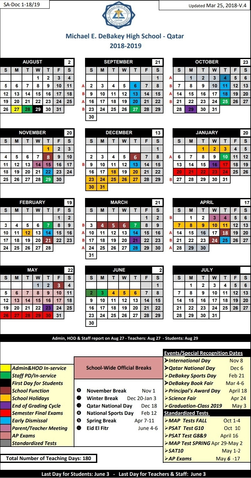 School Year Calendar 20192020 Michael E. Debakey High regarding Debakey High School Calendar