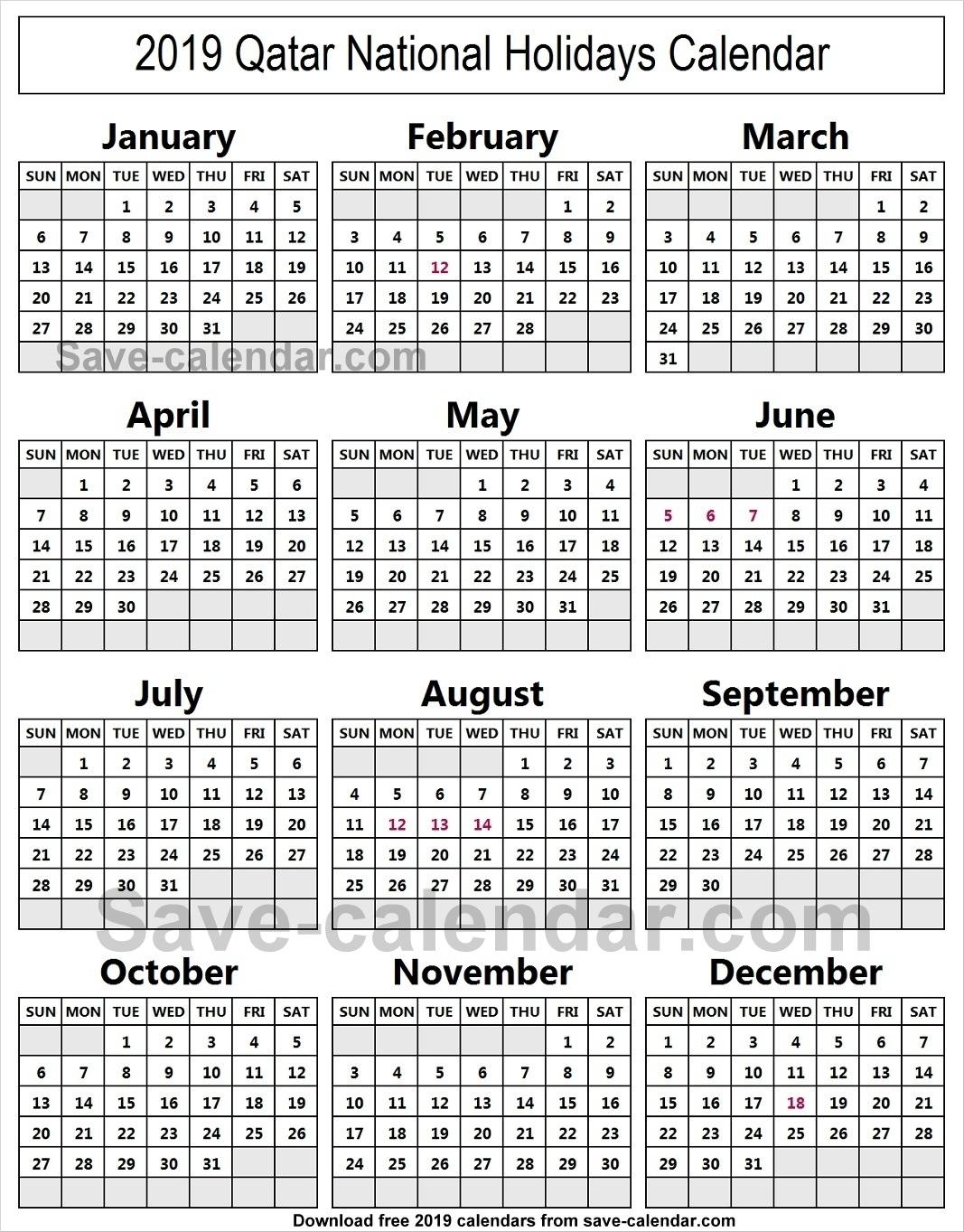 School Year Calendar 20192020 Michael E. Debakey High with 2020 Calendar Qatar Printable