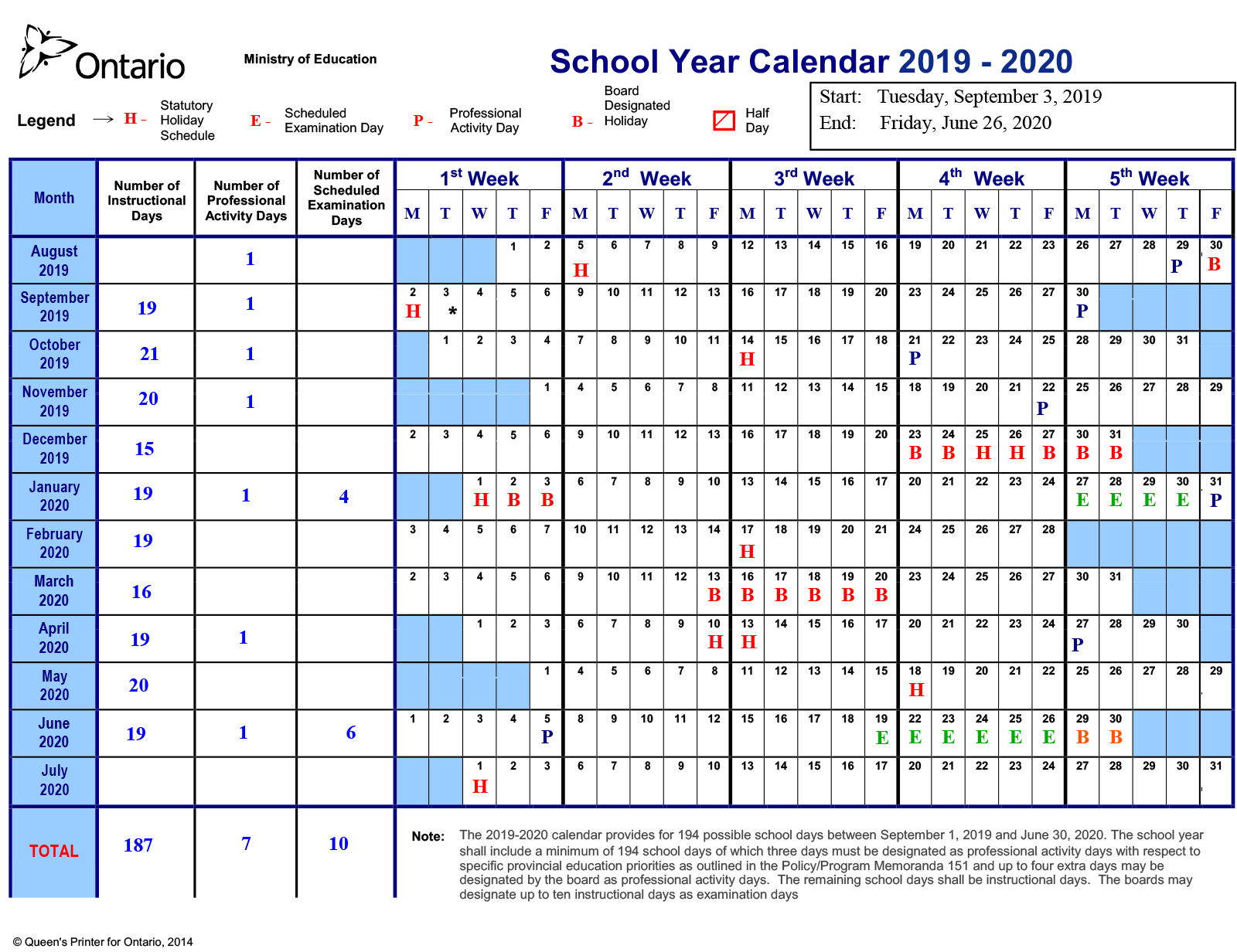 School Year Calendar 20192020 – Near North District School pertaining to Near North District School Board Calendar
