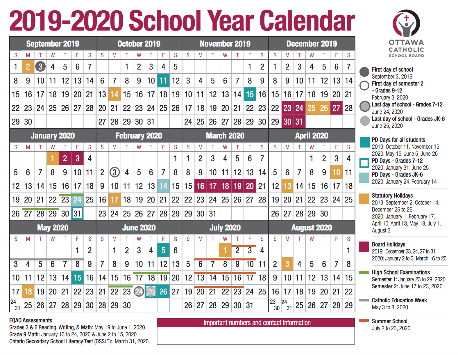 School Year Calendar From The Ocsb for St George Economic Calendar