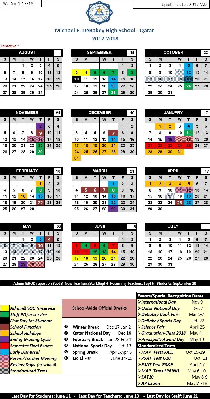 School Year Calendar Michael E Debakey High School Qatar regarding Debakey High School Calendar