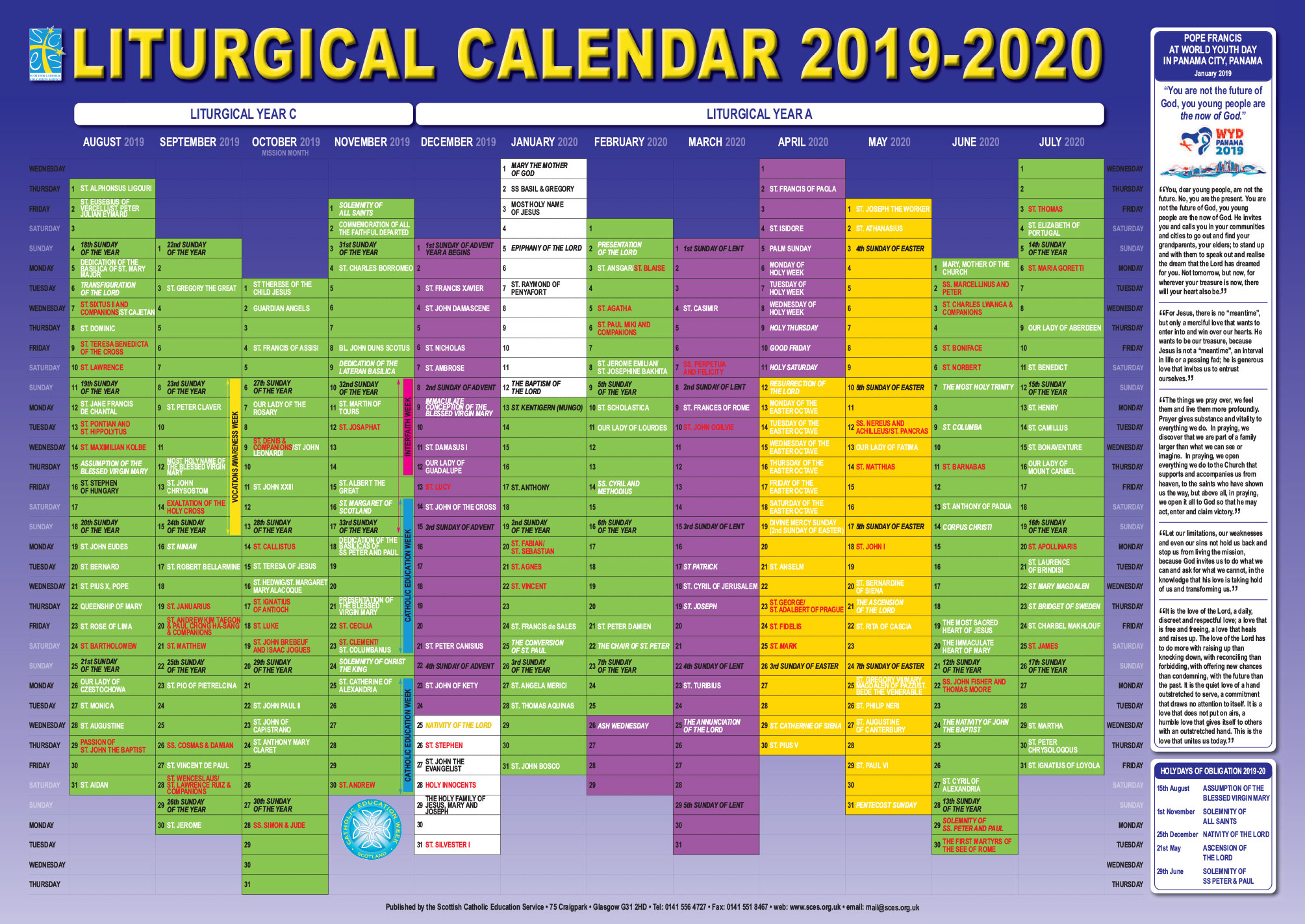 Scottish Catholic Education Service | Sces | Liturgical regarding Catholic Liturgy Calendar 2020