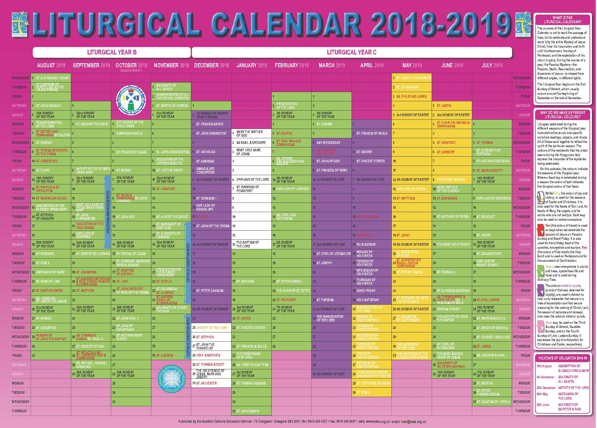 Scottish Catholic Education Service | Sces | Liturgical within Catholic Liturgy Calendar 2020
