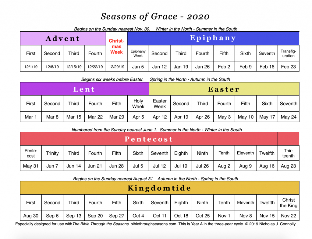 Seasons Of Grace: Liturgical Calendar – Matawan United regarding Catholic Liturgical Calendar 2020 With Daily Readings