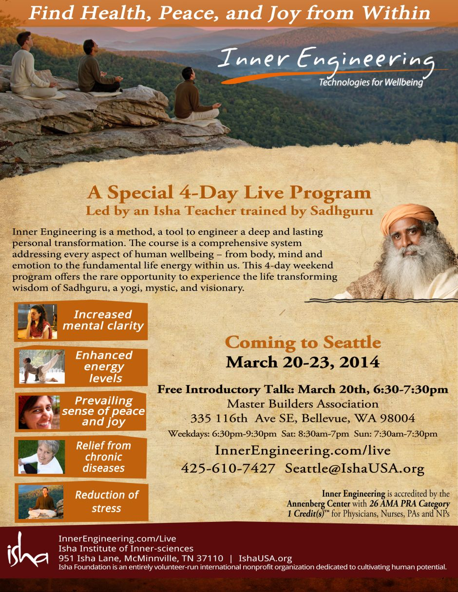 Seattle, March 2014  Isha Usa Newsletters intended for Isha Usa Calendar