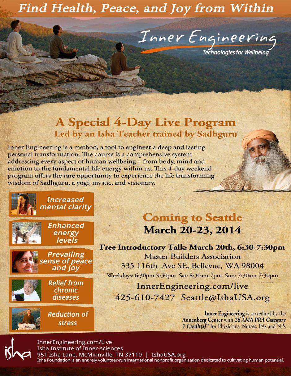 Seattle, March 2014  Isha Usa Newsletters with Isha Lunar Calendar
