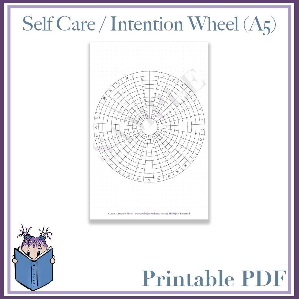 Self Care  Intention Wheel  Calendar Planner Bullet within Calendar Wheel Printable