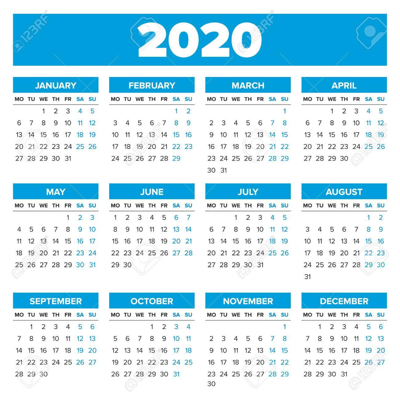 Sencillo 2020 Año Calendario, La Semana Comienza El Lunes regarding Calendario 2020 Con Semanas