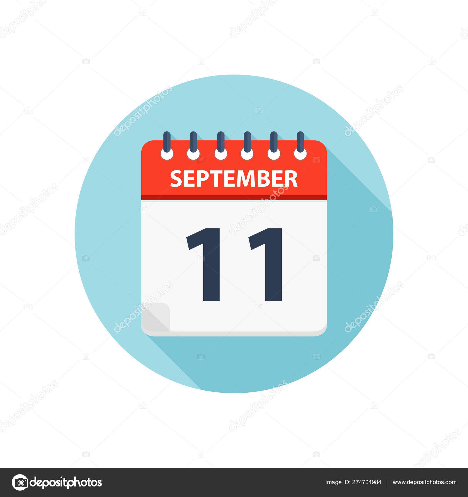 September 11  Calendar Icon  Round Calendar Design pertaining to Round Calendar Icon