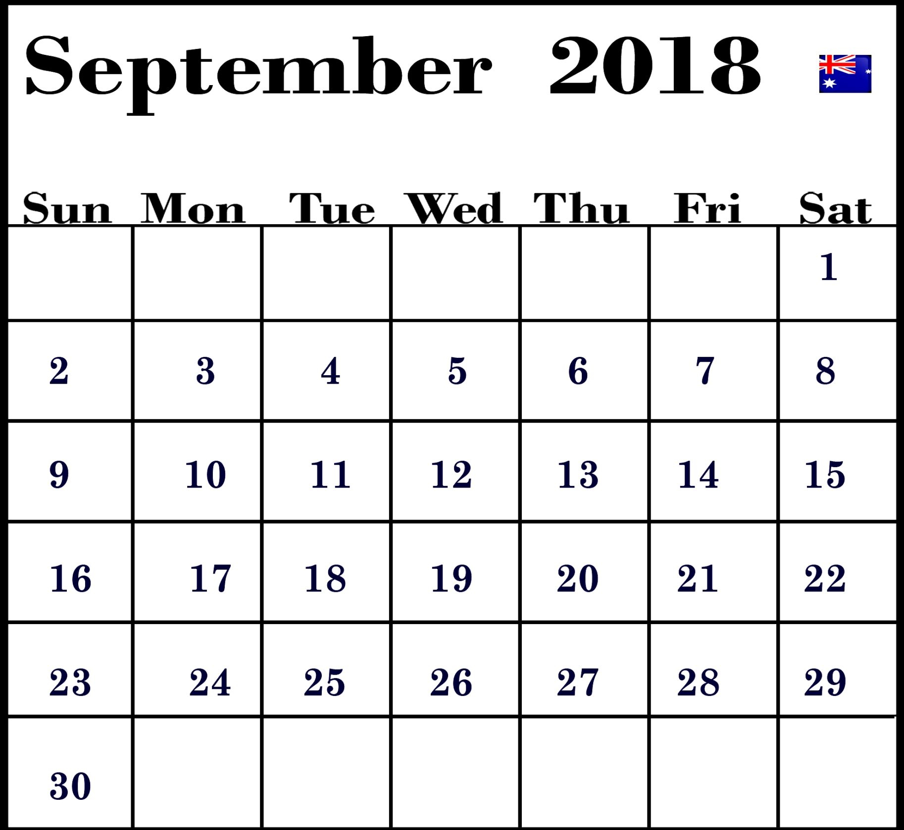 September 2018 Calendar Australia | Business Calendar Templates in 2018 Calendar Australia Printable