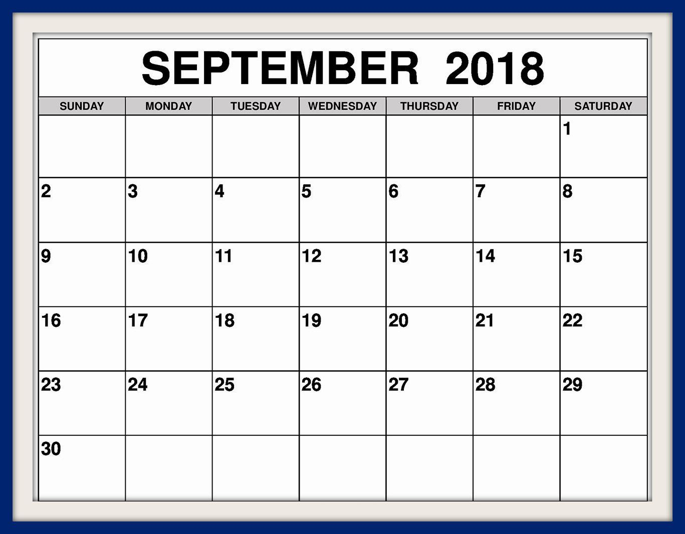September 2018 Calendar Australia Printable Template inside 2018 Calendar Australia Printable