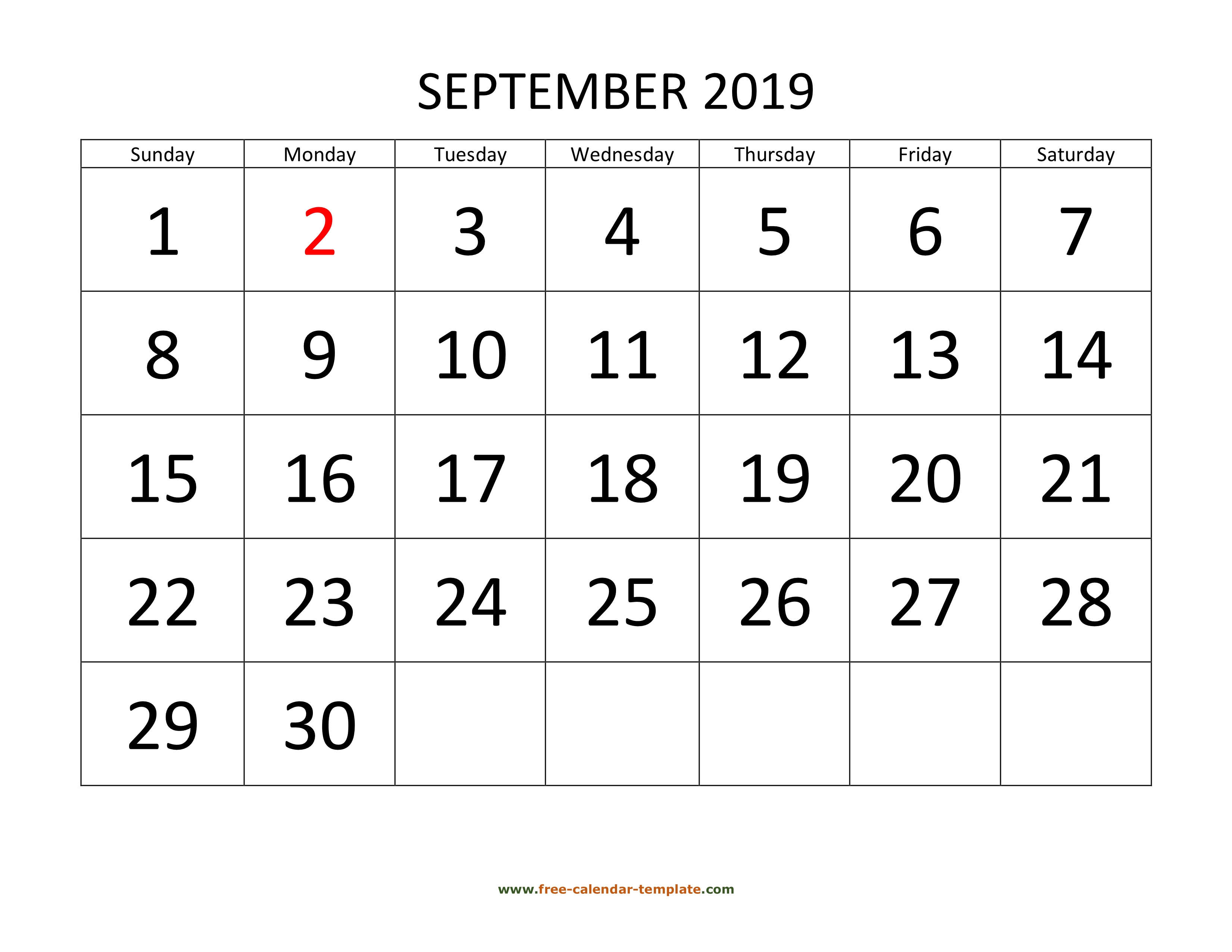 September 2019 Calendar Designed With Large Font (Horizontal pertaining to Saturday To Friday Calendar