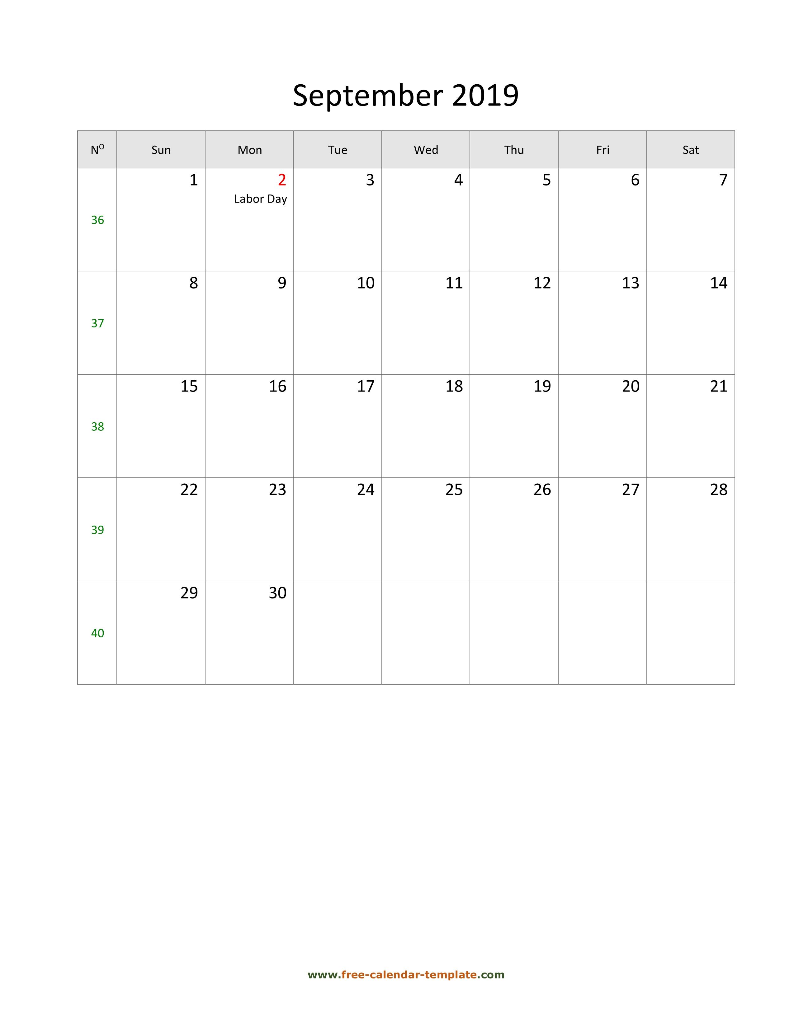 September 2019 Free Calendar Tempplate | Freecalendar inside 30 Day Blank Calendar