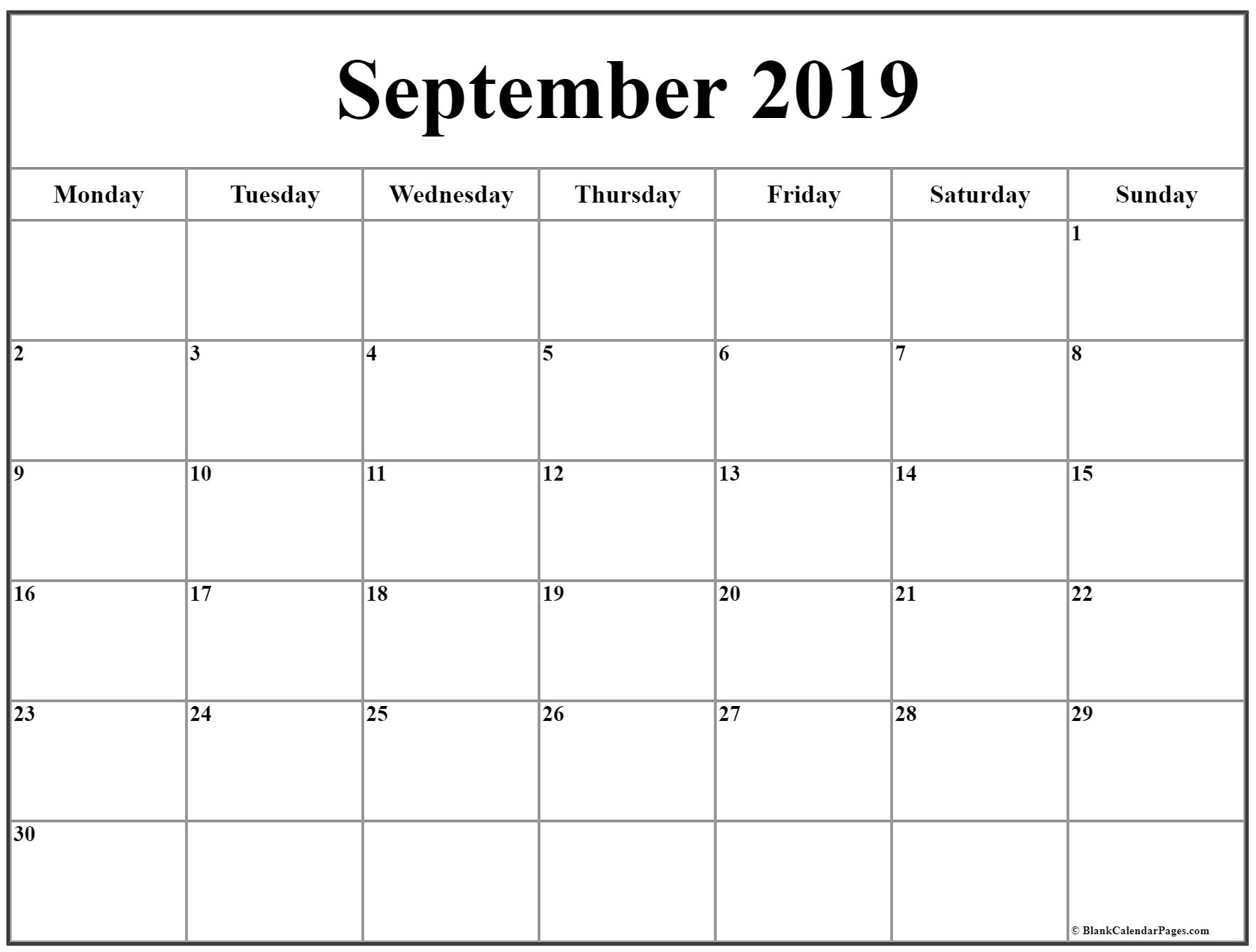 September 2019 Monday Calendar | Monday To Sunday in Calendar Monday Through Friday