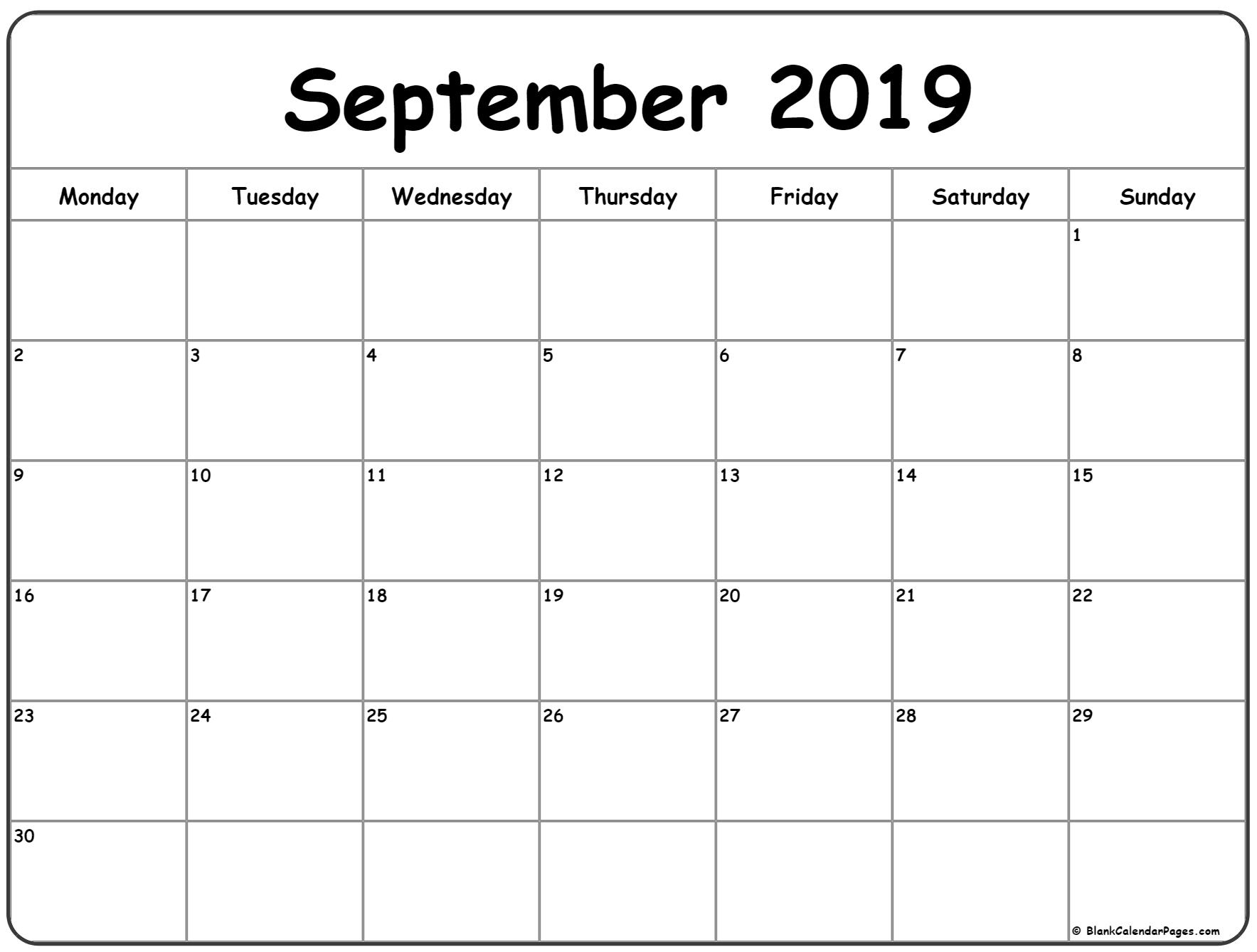 September 2019 Monday Calendar | Monday To Sunday throughout Monday Thru Friday Calendar