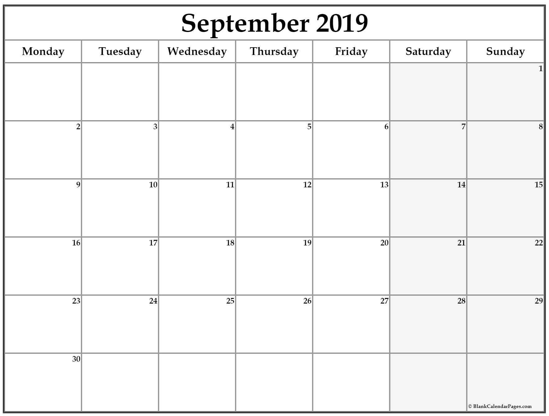 September 2019 Monday Calendar | Monday To Sunday within Blank Calendar Starting With Monday