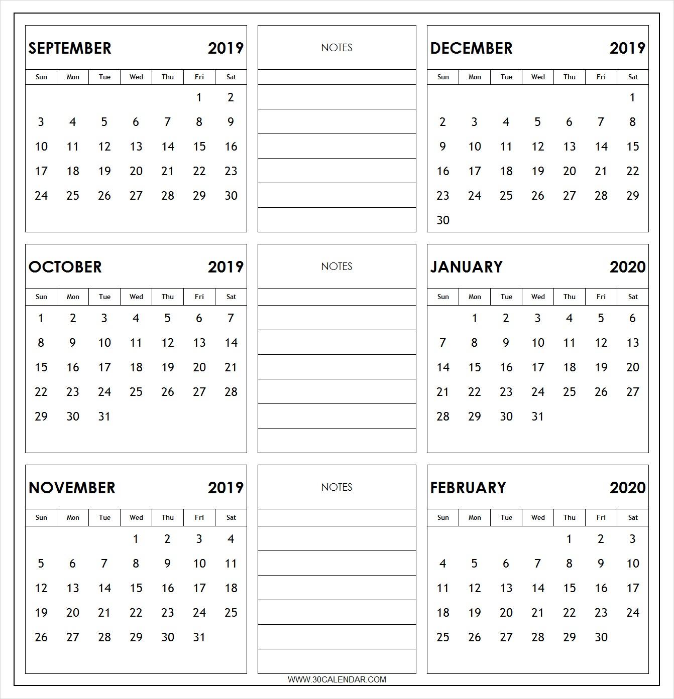 September 2019 To February 2020 Calendar Printable | 6 Month regarding Printable Six Month Calendar