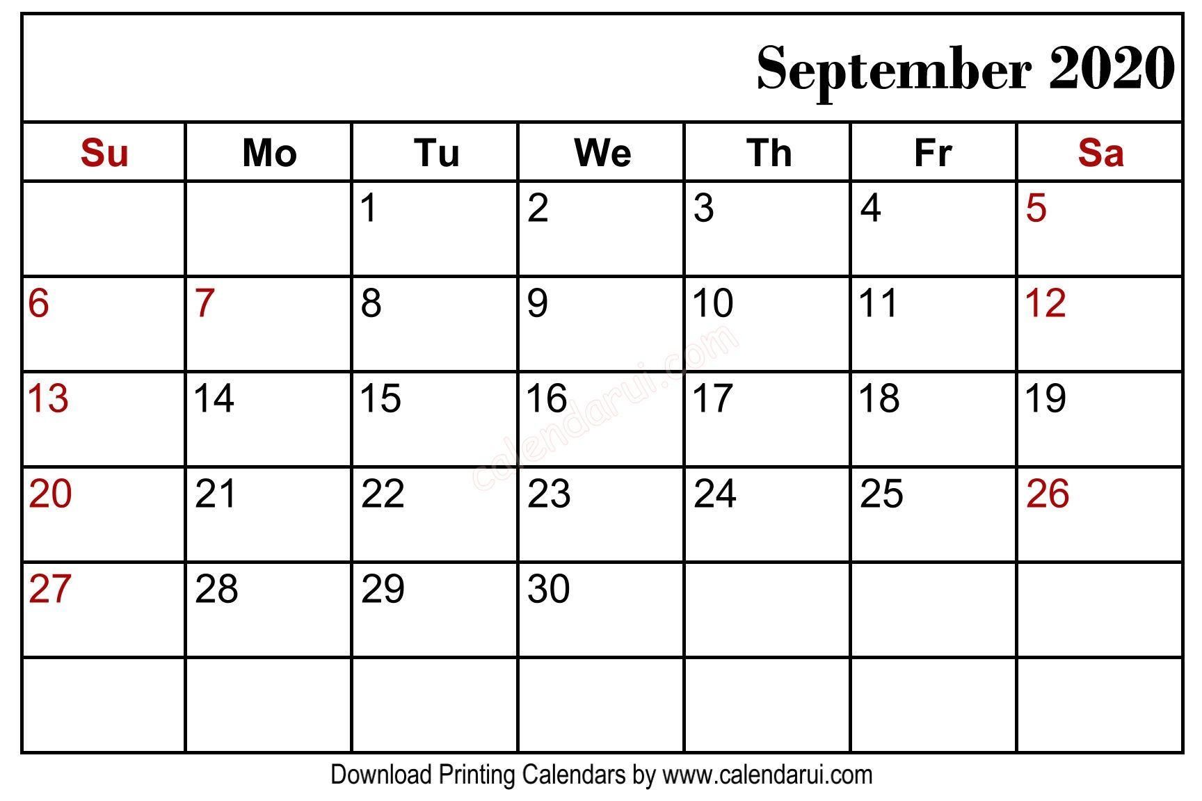 September 2020 Blank Calendar Printable Free Download for Malayalam Calendar September 2020