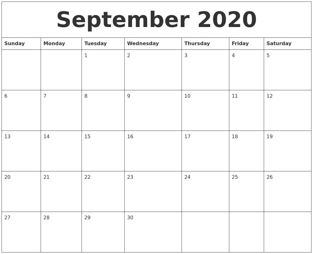 September 2020 Blank Schedule Template regarding Blank Sunday Through Saturday Calendar